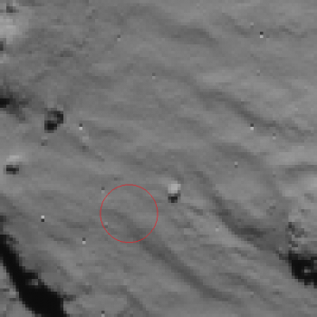 Rosetta NavCam view of Philae first landing site - 2014.11.12.15:30:32 UTC Credit: ESA/Rosetta/NAVCAM – CC BY-SA IGO 3.0