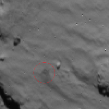 Rosetta NavCam view of Philae first landing site - 2014.11.12.15:35:32 UTC Credit: ESA/Rosetta/NAVCAM – CC BY-SA IGO 3.0