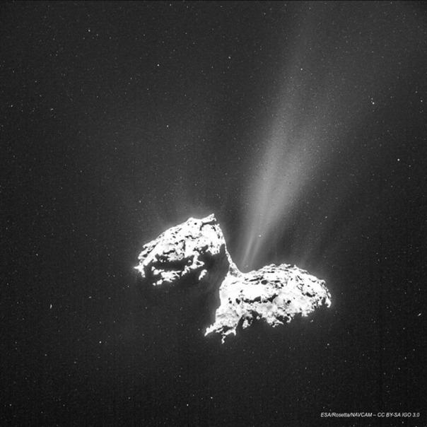 Primera imagen completa con la NAVCAM. Esta fue tomada el 6 de Febrero desde una distancia de 124 km del centro del cometa 67P/Churyumov-Gerasimenko. Ver http://blogs.esa.int/rosetta/2015/02/11/new-perspectives-cometwatch-6-february/